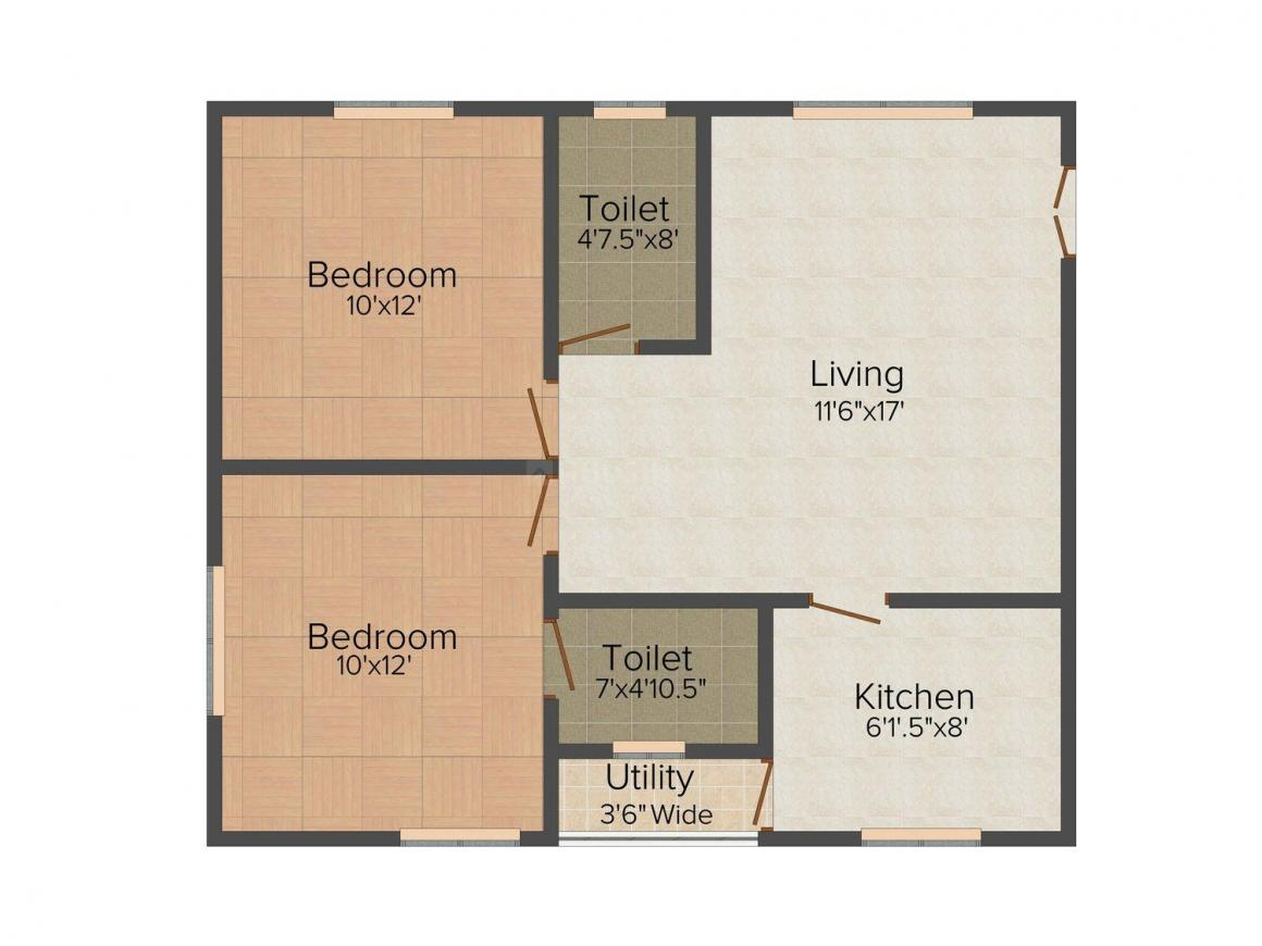 Floor Plan Image of 1050.0 - 1600.0 Sq.ft 2 BHK Apartment for buy in SV's Harmony