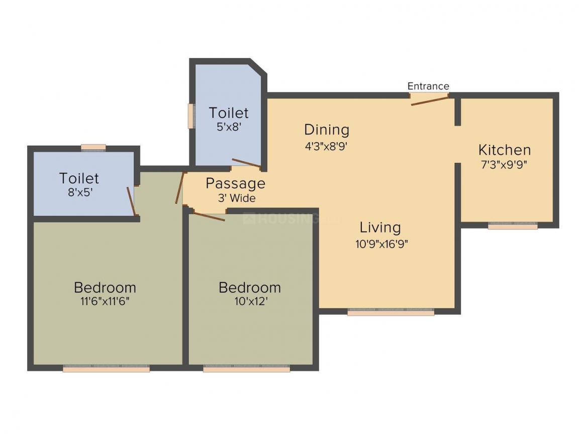 Floor Plan Image of 690 - 1011 Sq.ft 2 BHK Apartment for buy in Kukreja Chembur Heights II
