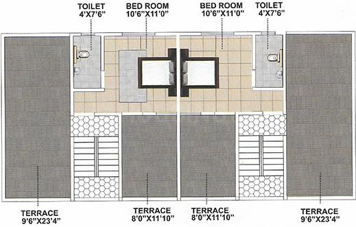 Purple Touch Phase 3 Floor Plan: 2 BHK Unit with Built up area of 1259 sq.ft 1