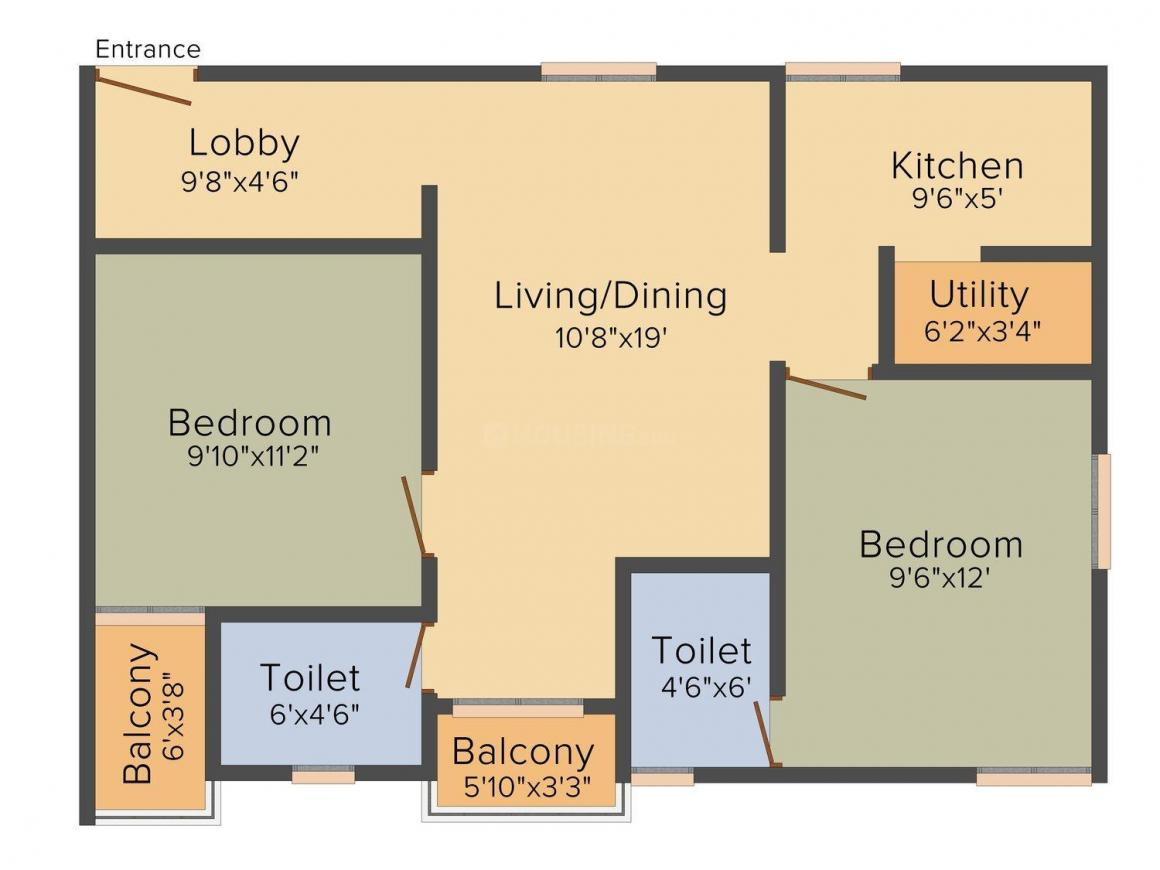Floor Plan Image of 1071.0 - 1521.0 Sq.ft 2 BHK Apartment for buy in SV Arcade