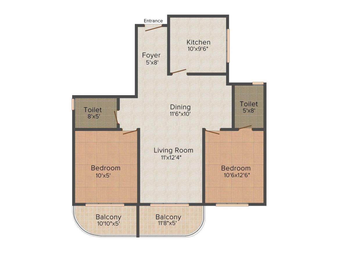 Floor Plan Image of 0 - 1150 Sq.ft 2 BHK Apartment for buy in Aanantham