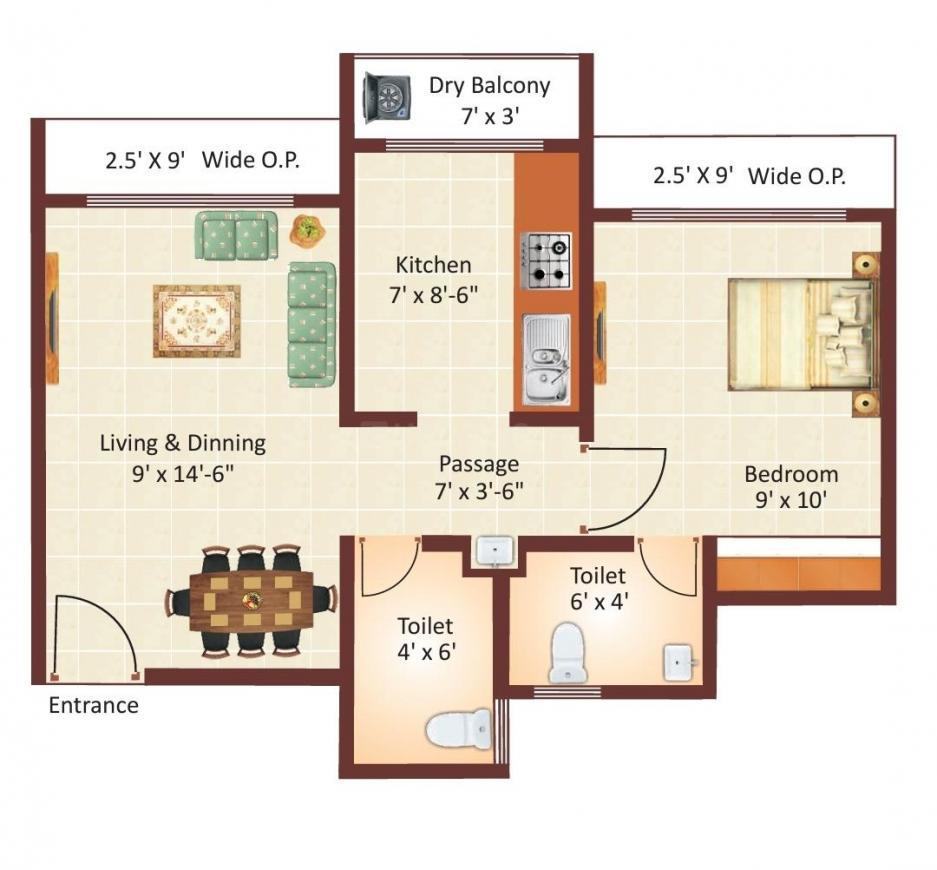Kalyan Nagari Floor Plan: 1 BHK Unit with Built up area of 354 sq.ft 1