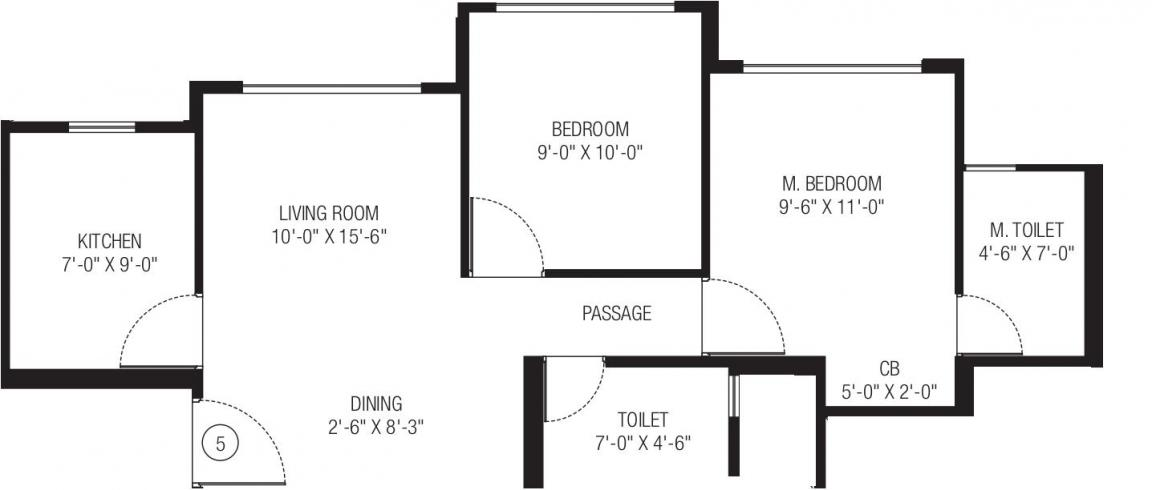 Hiranandani Obelia A AND Obelia B Floor Plan: 2 BHK Unit with Built up area of 503 sq.ft 1