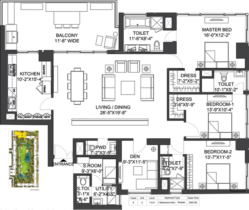 M3M Golf Estate Floor Plan: 3 BHK Unit with Built up area of 3203 sq.ft 1