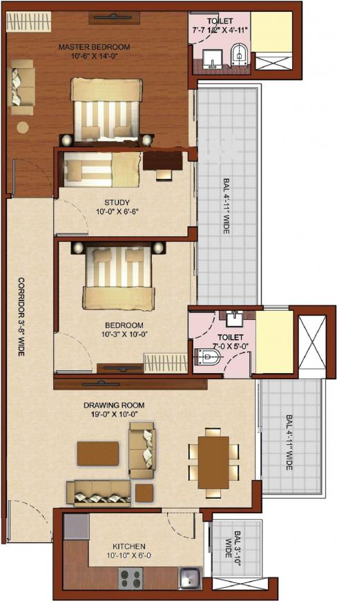 RG Luxury Homes Floor Plan: 2 BHK Unit with Built up area of 1229 sq.ft 1