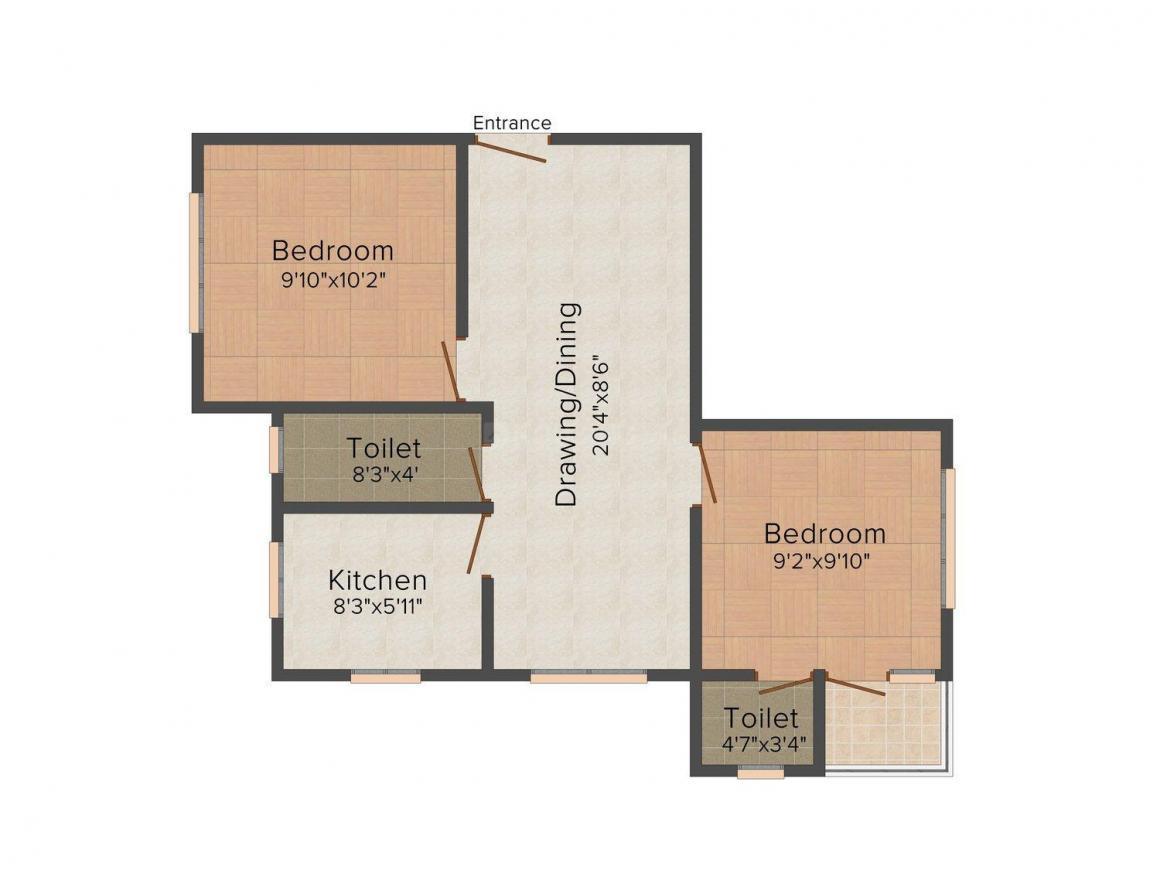 Floor Plan Image of 486.0 - 837.0 Sq.ft 1 BHK Apartment for buy in Lotus Kolkata