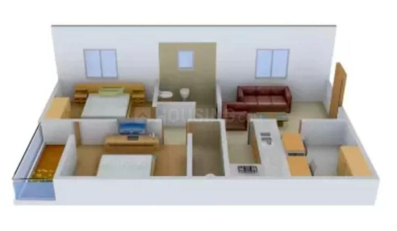 Abhinava Vrindaban Garden Floor Plan: 2 BHK Unit with Built up area of 980 sq.ft 1