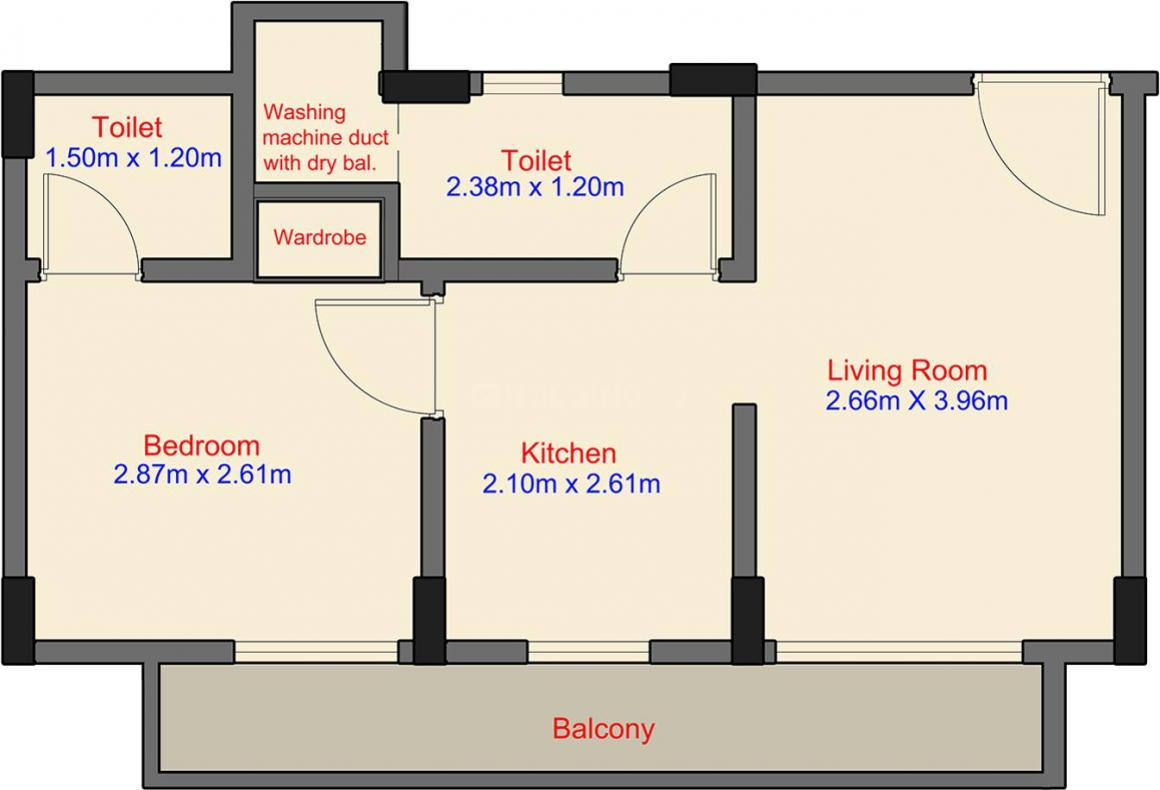 Floor Plan Image of 184.71 - 409.78 Sq.ft 1 RK Apartment for buy in Labdhi Gardens Phase 2