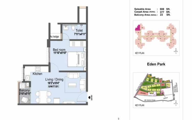 L&T Eden Park - Almond Floor Plan: 1 BHK Unit with Built up area of 580 sq.ft 1