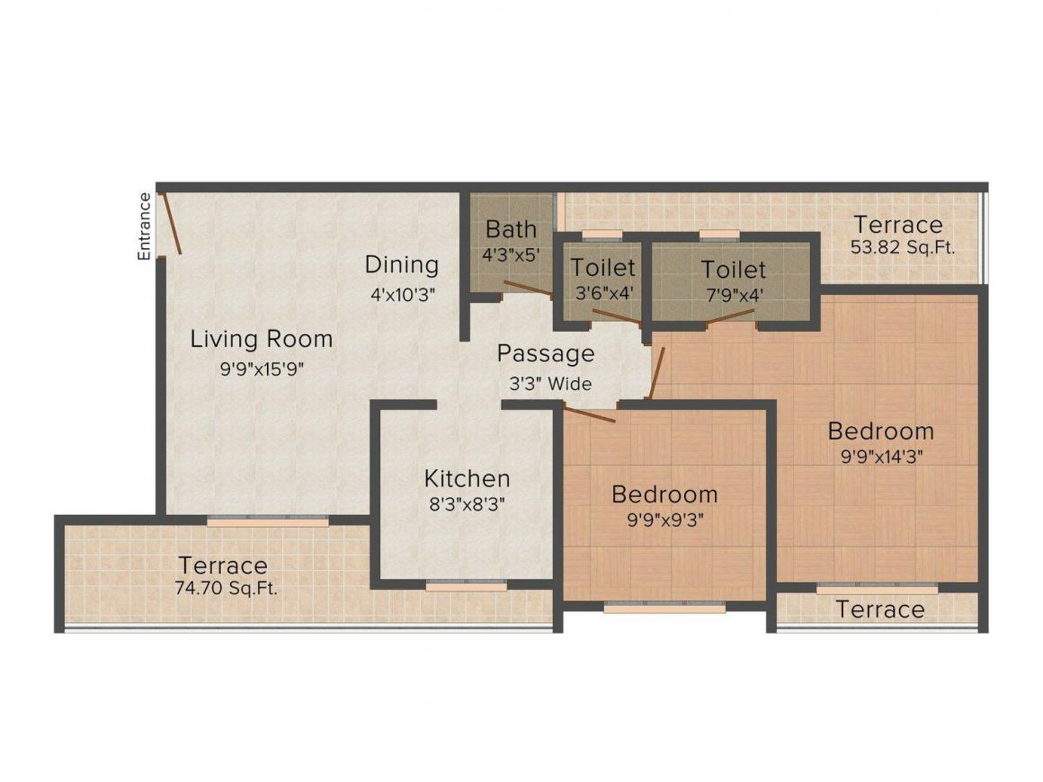 Floor Plan Image of 950.0 - 1425.0 Sq.ft 2 BHK Apartment for buy in JB Janki Heights 2