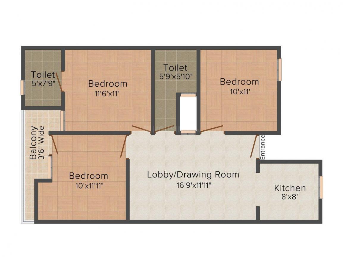 Floor Plan Image of 0 - 900 Sq.ft 3 BHK Independent Floor for buy in Gambhir Homes III