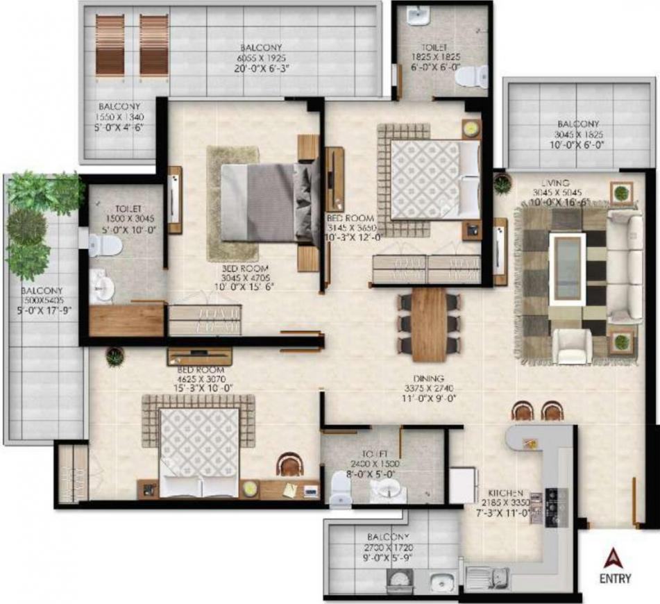 SKA Orion Floor Plan: 3 BHK Unit with Built up area of 970 sq.ft 1