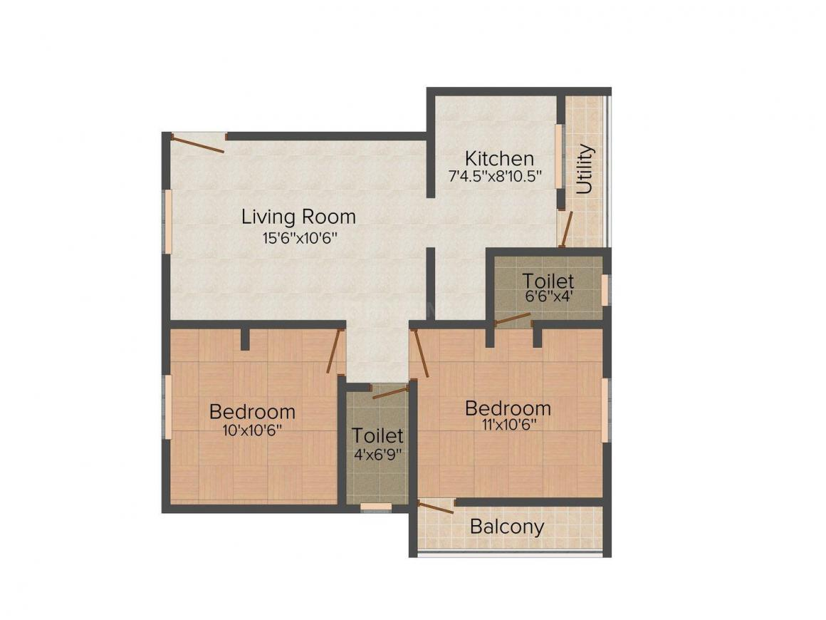 Ram Viswamitra Floor Plan: 2 BHK Unit with Built up area of 815 sq.ft 1