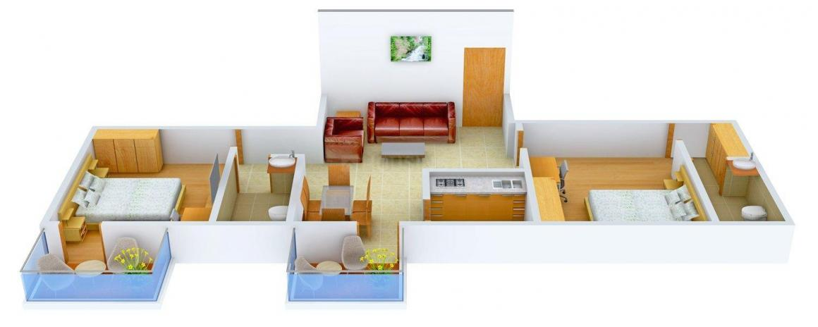 Leela Tower Floor Plan: 2 BHK Unit with Built up area of 978 sq.ft 1