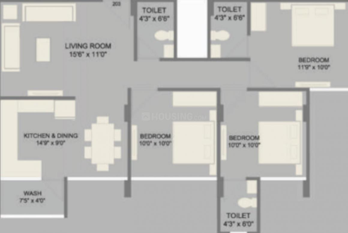 Supan Serene 2 Floor Plan: 3 BHK Unit with Built up area of 781 sq.ft 1