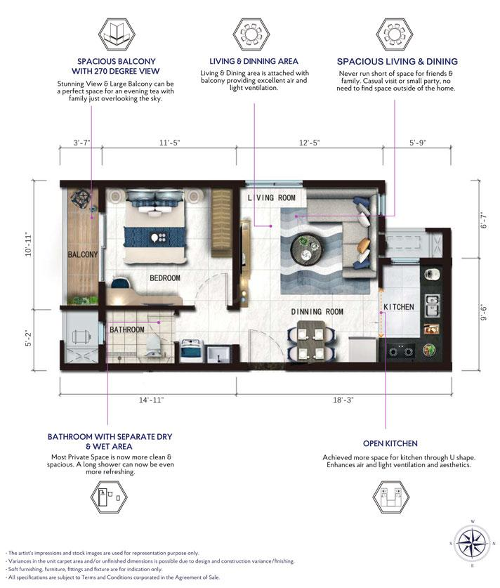 The Ace  Floor Plan: 1 BHK Unit with Built up area of 600 sq.ft 1