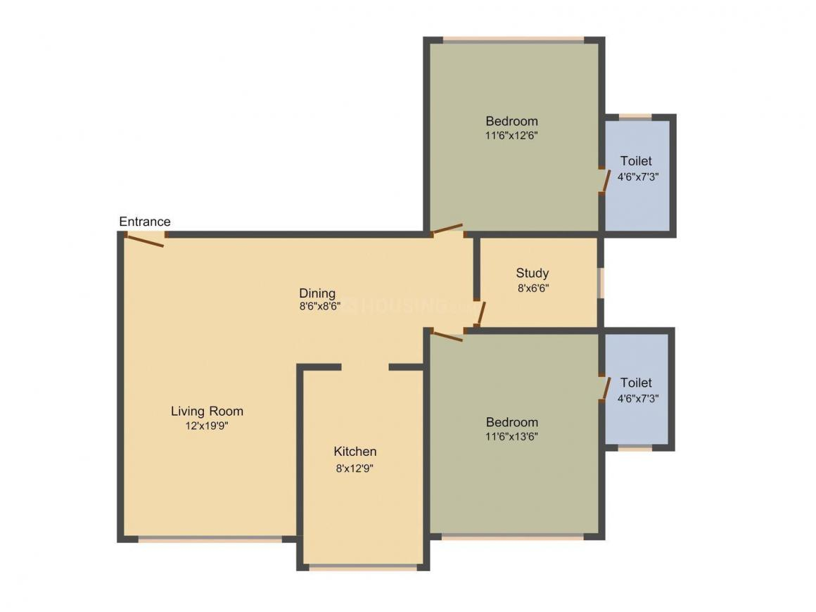 Mayfair Heritage Floor Plan: 2 BHK Unit with Built up area of 760 sq.ft 1