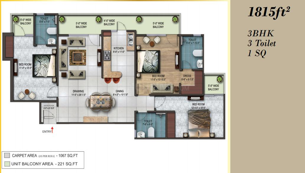 Earthcon Rajpur Greens Floor Plan: 3 BHK Unit with Built up area of 1815 sq.ft 1