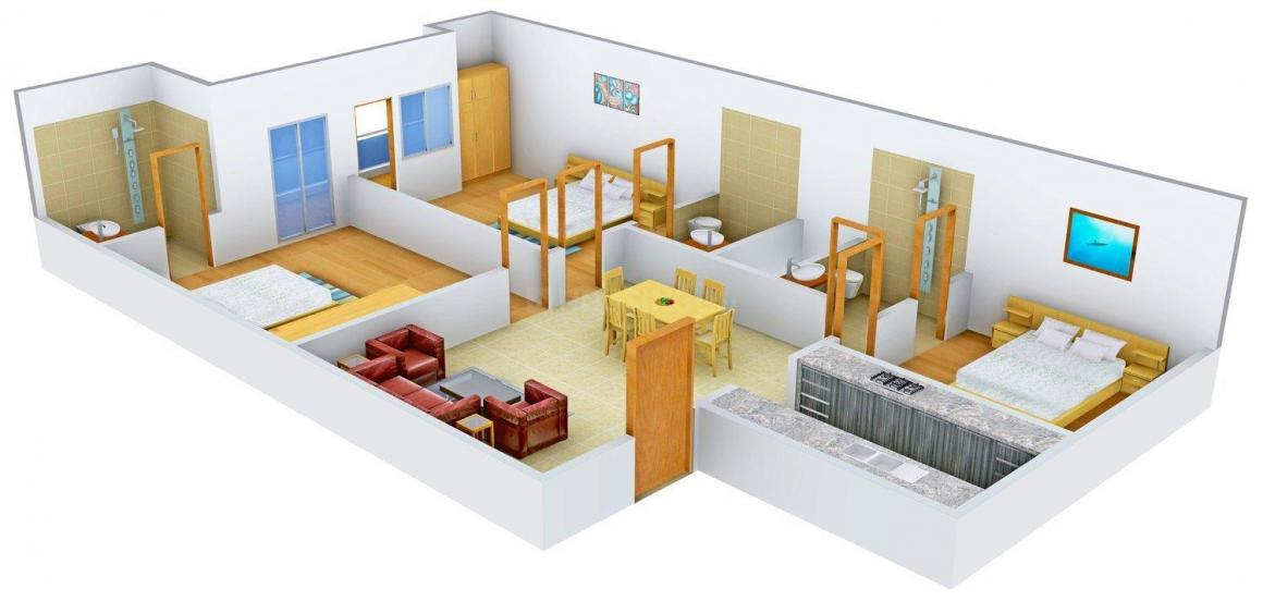 Bansal A 2172 Floor Plan: 3 BHK Unit with Built up area of 1500 sq.ft 1