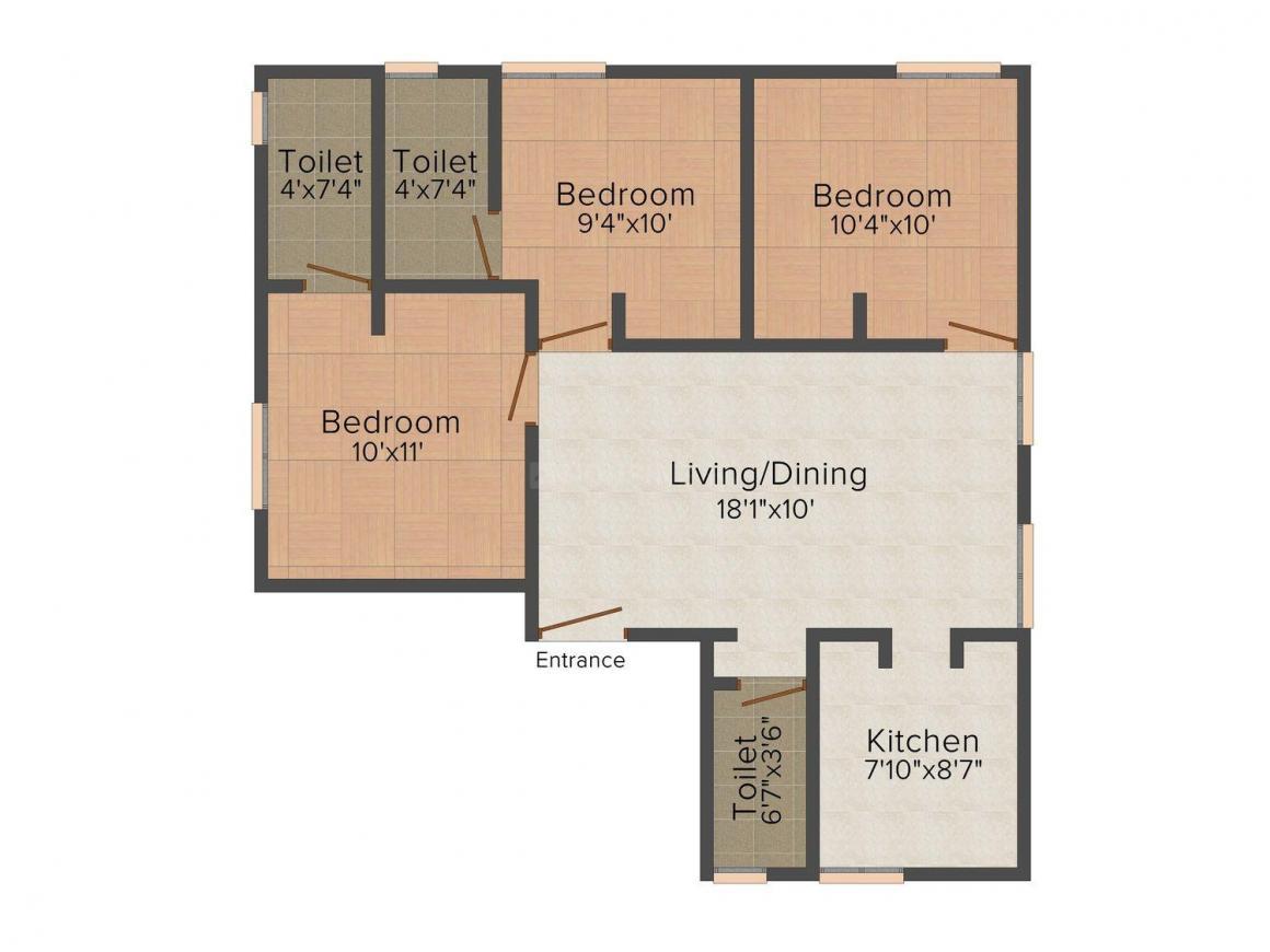 Floor Plan Image of 0 - 906 Sq.ft 3 BHK Independent Floor for buy in Guhan Soundaryaa Blossoms
