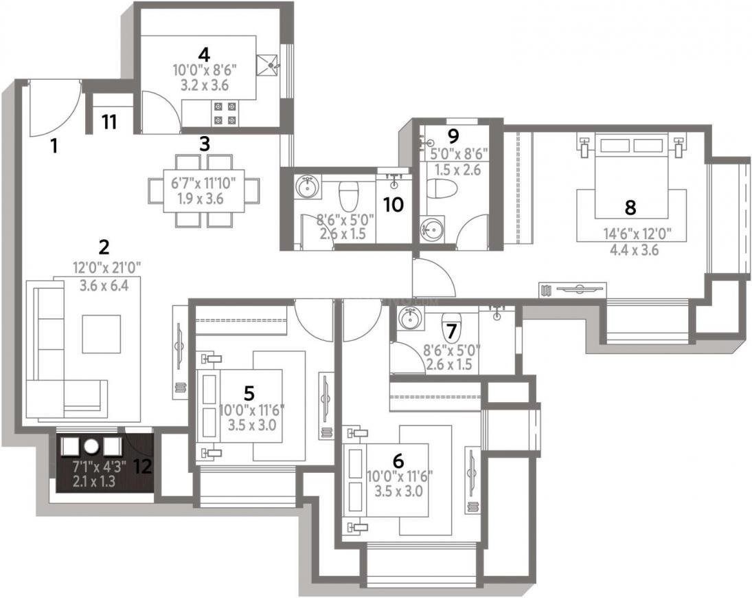Hiranandani Edina Floor Plan: 3 BHK Unit with Built up area of 1445 sq.ft 2