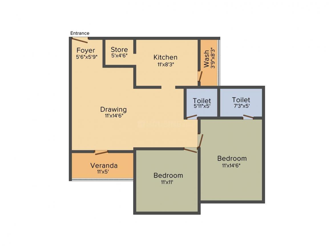 Avirat Silver Harmony Floor Plan: 2 BHK Unit with Built up area of 1395 sq.ft 1