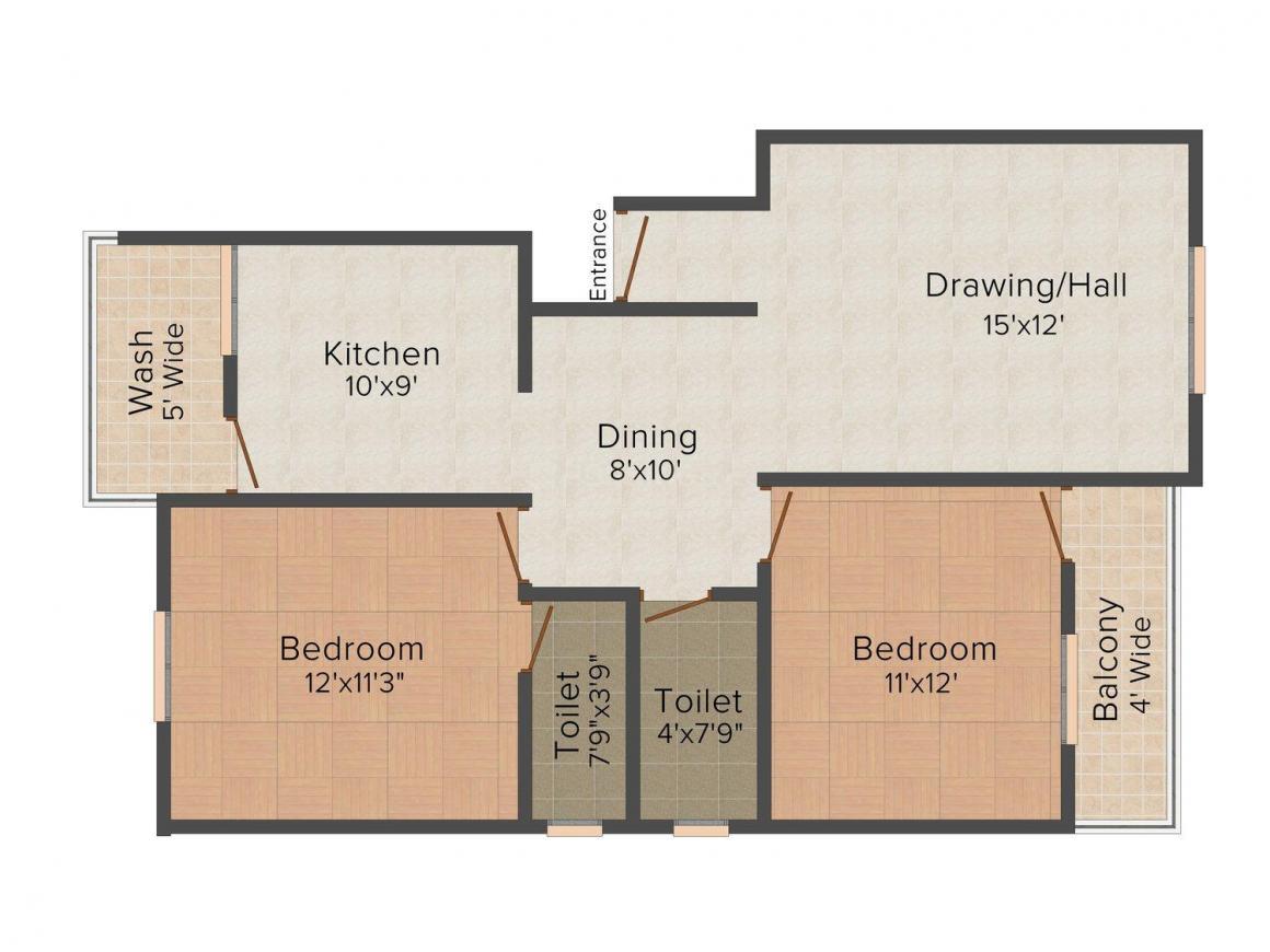 Floor Plan Image of 1100 - 1125 Sq.ft 2 BHK Apartment for buy in Shree Sadguru  Sai Kanha Residency