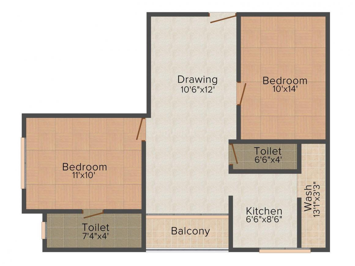 Floor Plan Image of 987.0 - 1723.0 Sq.ft 1.5 BHK Apartment for buy in Pukhraj City