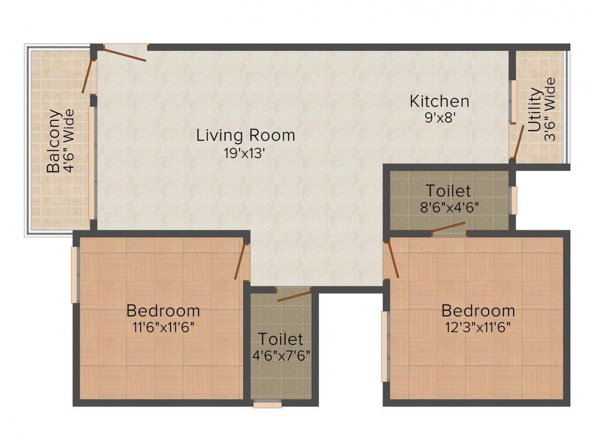 Floor Plan Image of 0 - 1100.0 Sq.ft 2 BHK Apartment for buy in Rimsha Construction