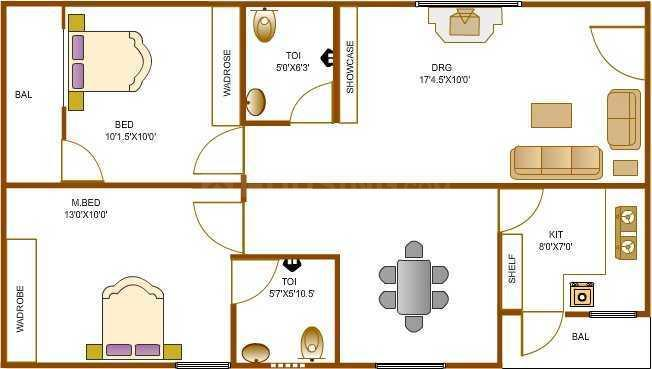 Environ Towers Floor Plan: 2 BHK Unit with Built up area of 937 sq.ft 1