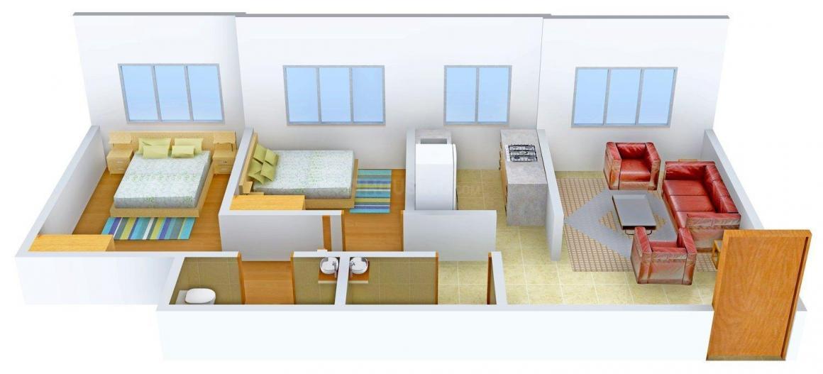 Floor Plan Image of 0 - 750 Sq.ft 2 BHK Apartment for buy in Goldstar Siddharth Nagar