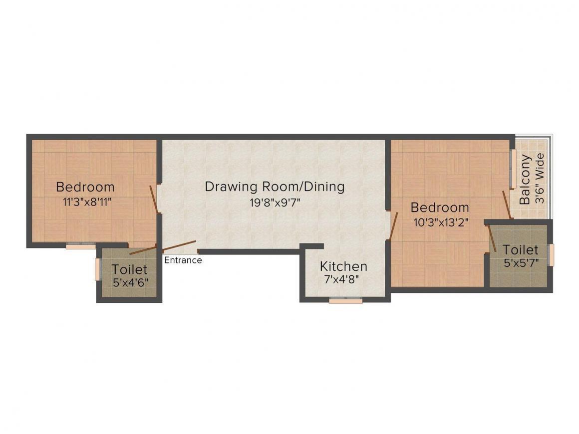Floor Plan Image of 585 - 765 Sq.ft 1 BHK Independent Floor for buy in Om Mahadev Apartment