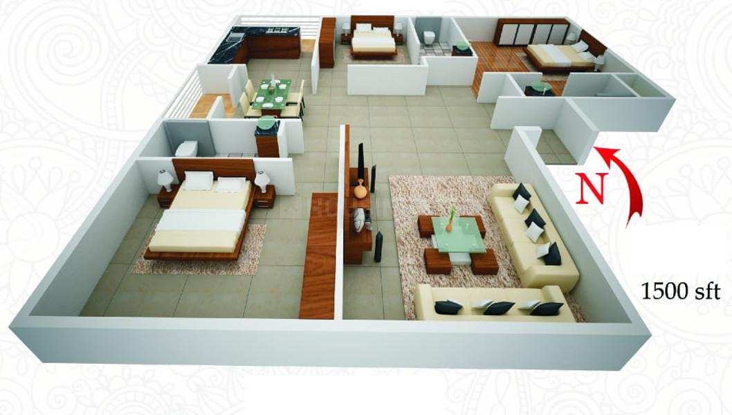 Floor Plan Image of 0 - 1500.0 Sq.ft 3 BHK Apartment for buy in Brightway Divine
