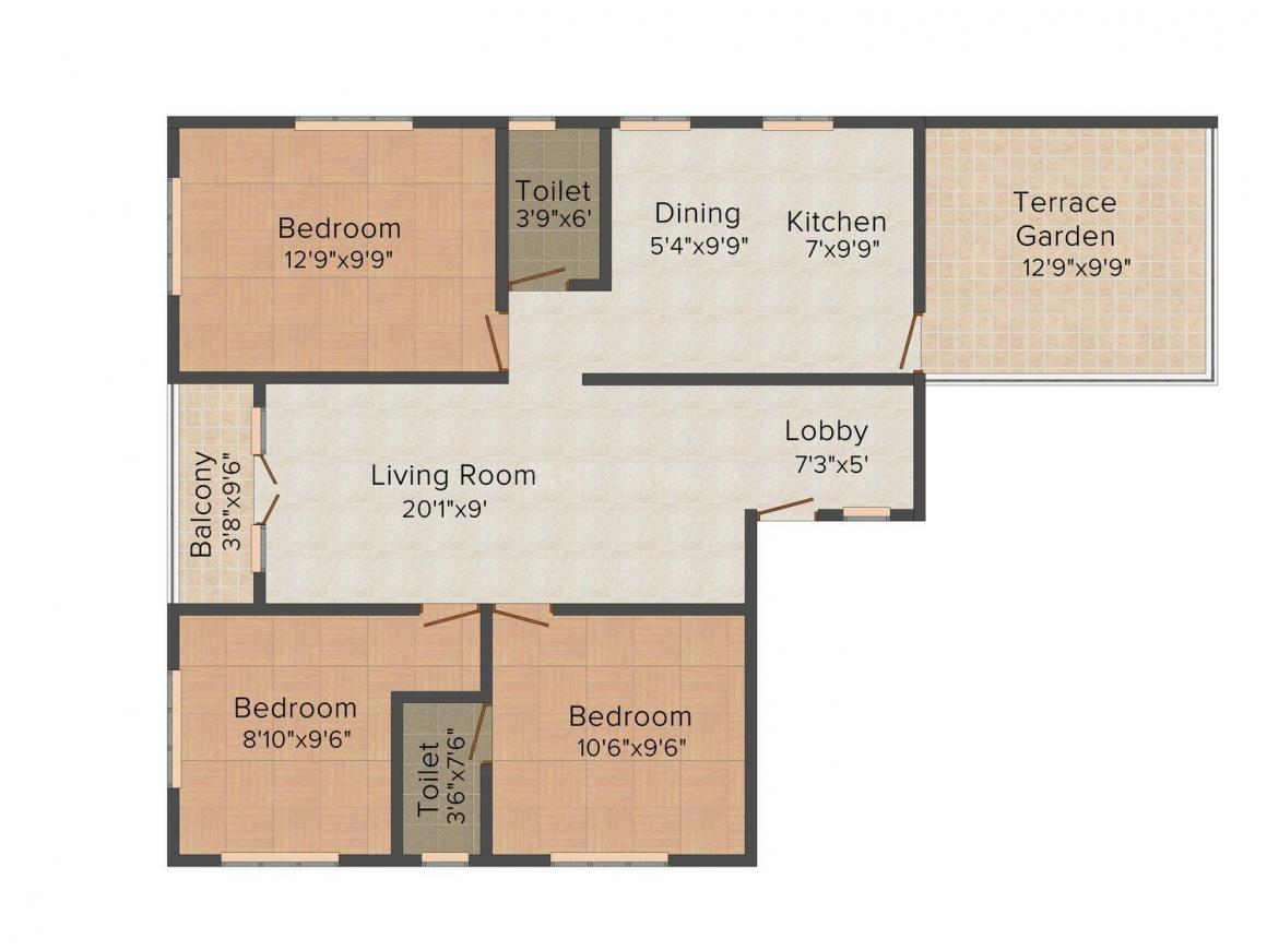 Floor Plan Image of 0 - 1166.0 Sq.ft 3 BHK Apartment for buy in Rohan Pallikaranai
