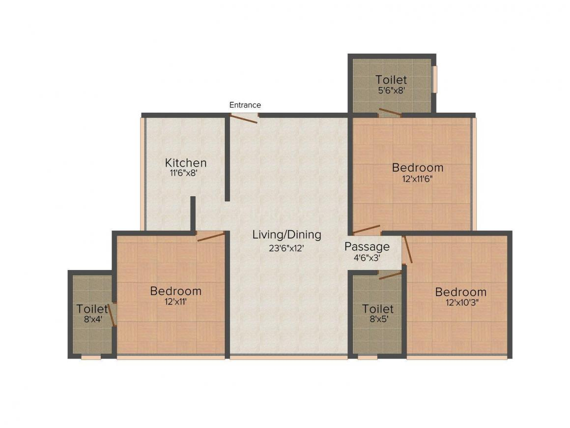 Floor Plan Image of 0 - 1575 Sq.ft 3 BHK Apartment for buy in NICCO Shrey Apartments