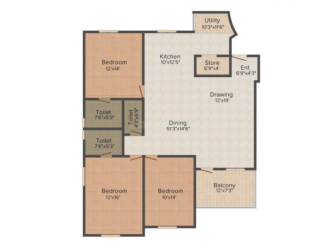 Takshashila Trezure Enclave Floor Plan: 3 BHK Unit with Built up area of 2400 sq.ft 1