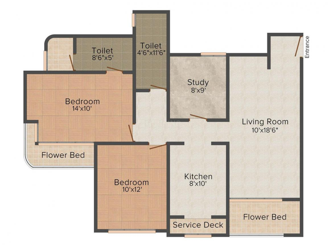 Aanand Sai Prarthana Floor Plan: 2 BHK Unit with Built up area of 1430 sq.ft 1