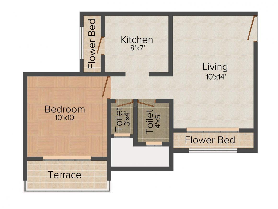 Floor Plan Image of 450 - 870 Sq.ft 1 BHK Apartment for buy in Balaji Amrit