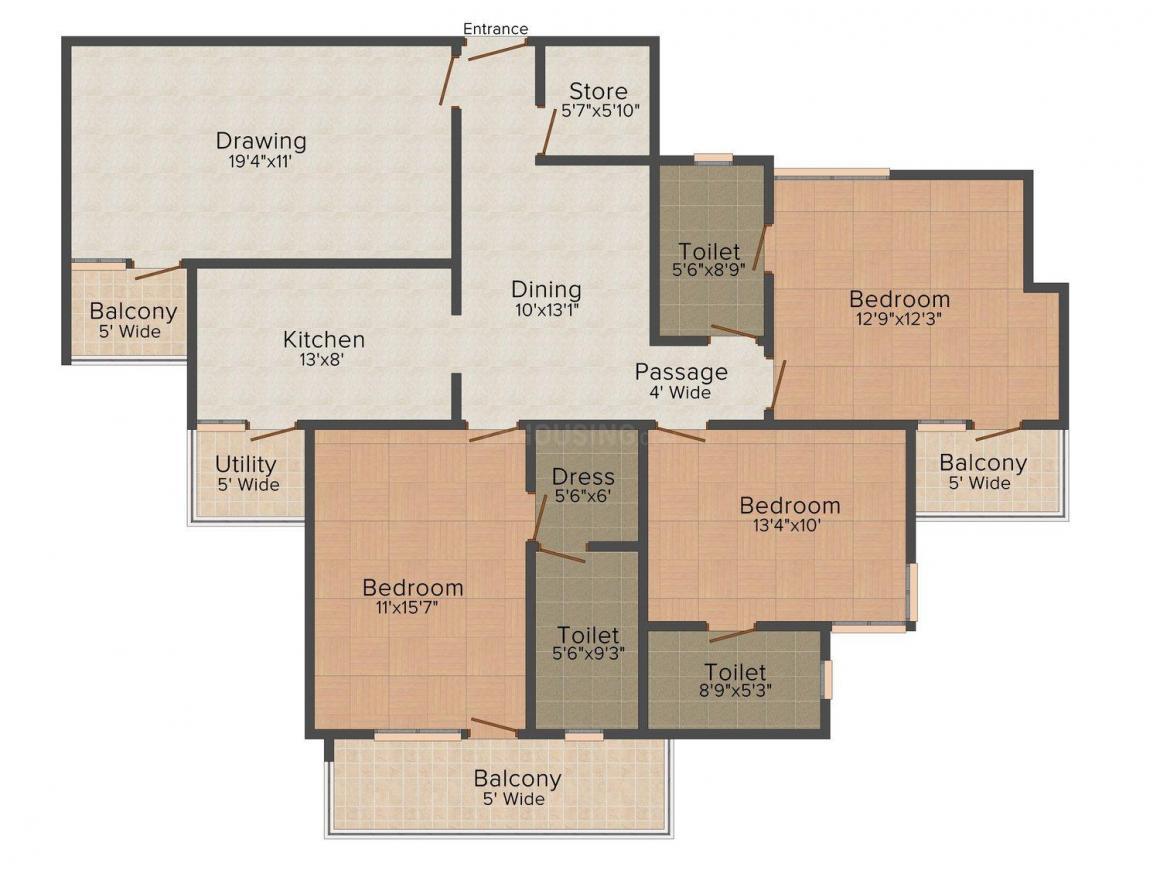 Floor Plan Image of 1865 - 3235 Sq.ft 3 BHK Apartment for buy in Chandak Imperial Residency