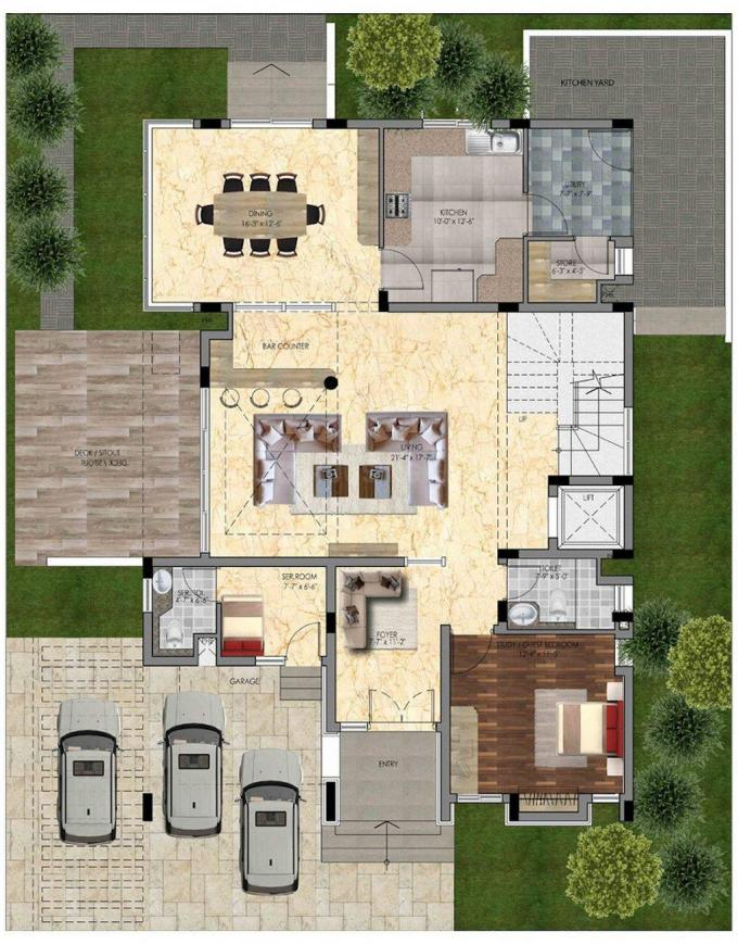 Olympia Panache Floor Plan: 4 BHK Unit with Built up area of 4623 sq.ft 1