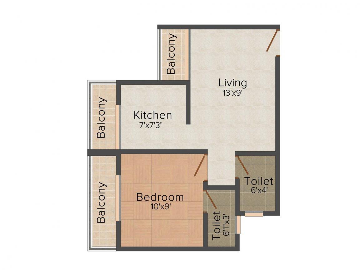 Floor Plan Image of 425 - 650 Sq.ft 1 BHK Apartment for buy in 5P Raj Shrushti