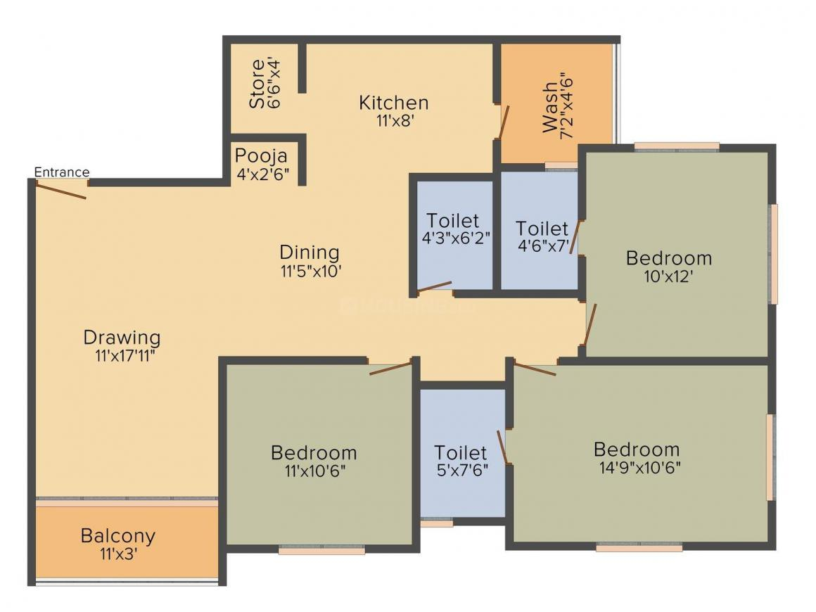 Maruti Skylights  Floor Plan: 3 BHK Unit with Built up area of 1530 sq.ft 1