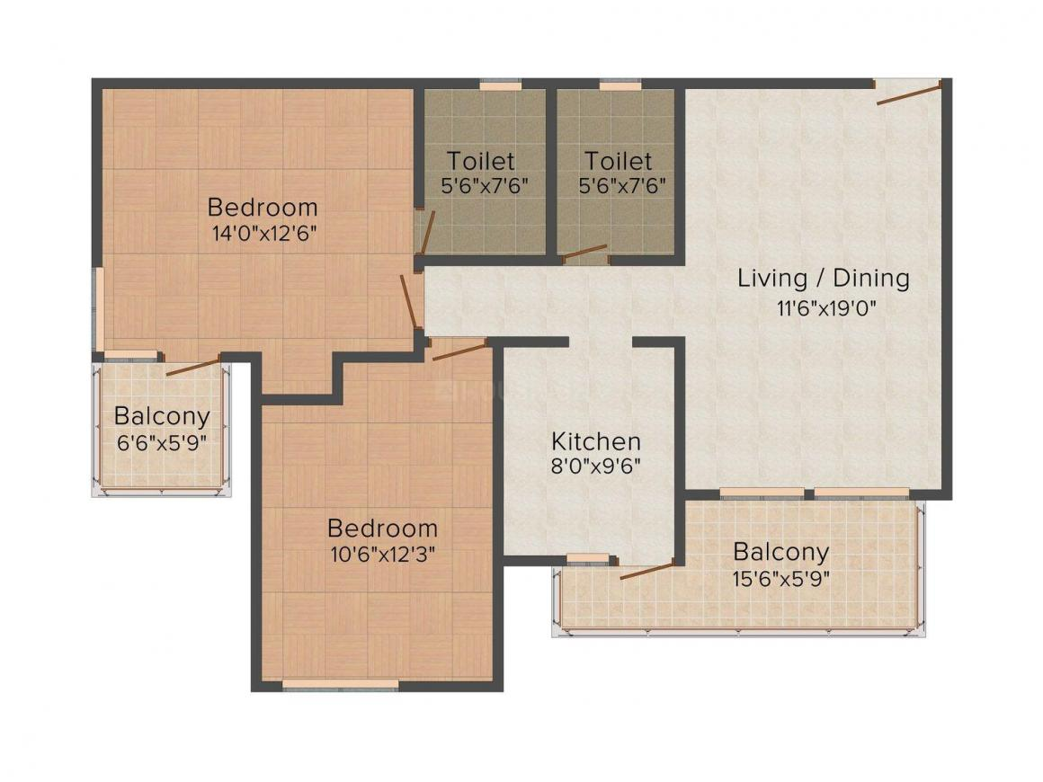 Floor Plan Image of 1245.0 - 4867.0 Sq.ft 2 BHK Apartment for buy in Sidhartha Estella