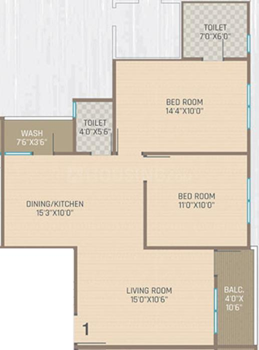 Pavilion Heights Floor Plan: 2 BHK Unit with Built up area of 693 sq.ft 1
