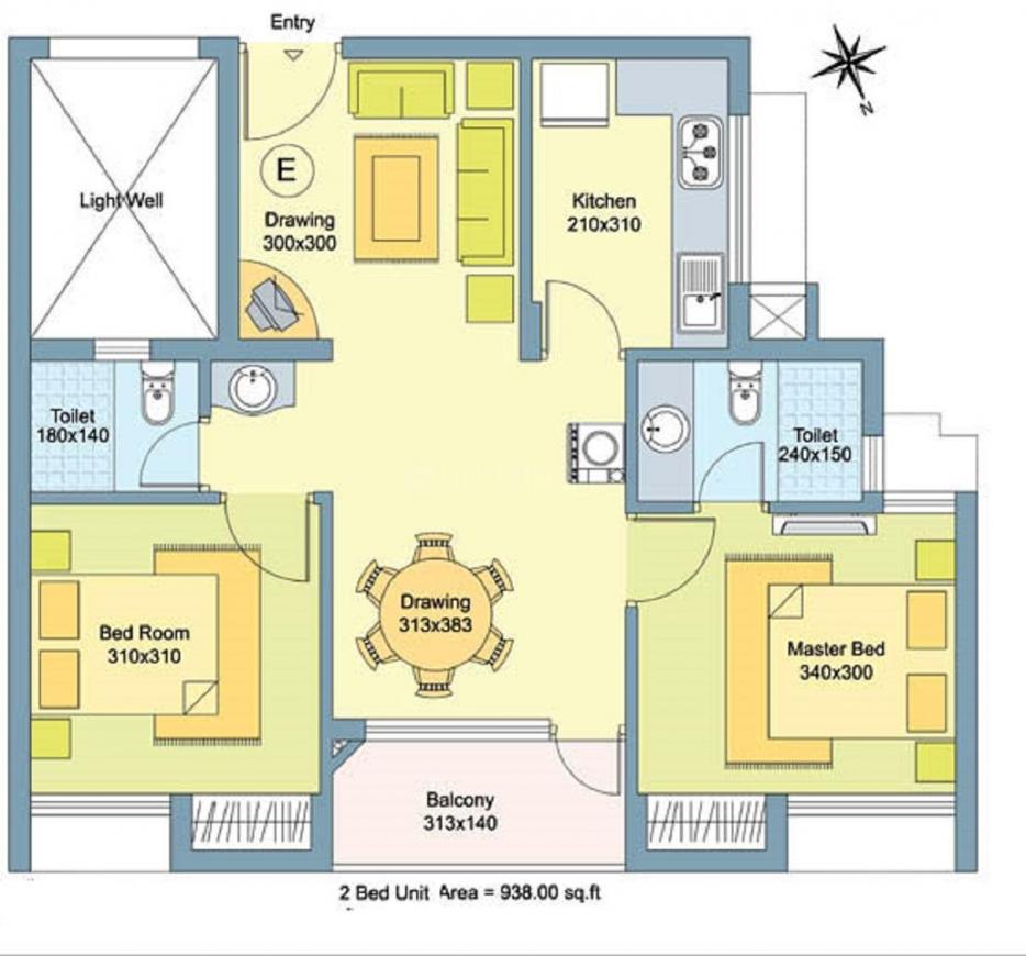 Skyline Garnet Floor Plan: 2 BHK Unit with Built up area of 938 sq.ft 1