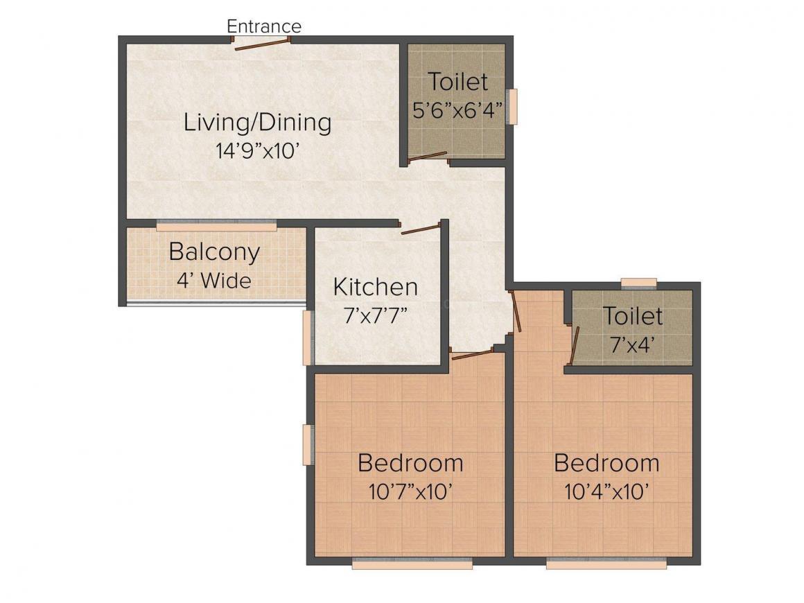 Floor Plan Image of 880.0 - 1285.0 Sq.ft 2 BHK Apartment for buy in Jain Dream Eco City