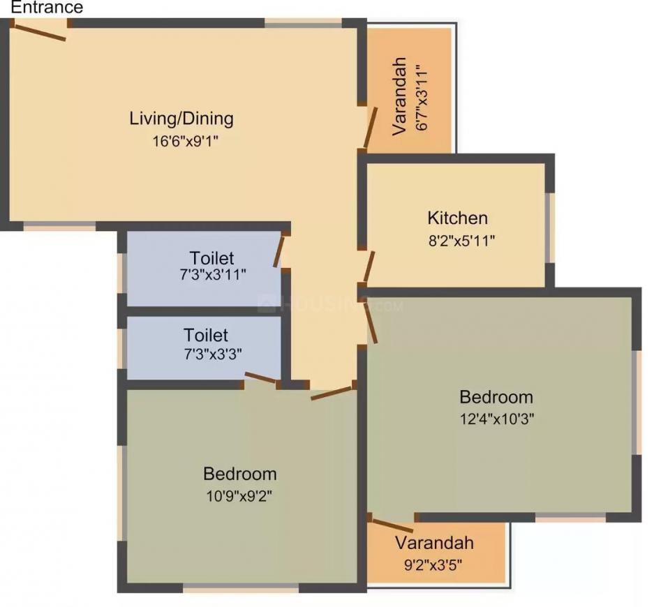 Palm Green Valley Residency Floor Plan: 2 BHK Unit with Built up area of 914 sq.ft 1