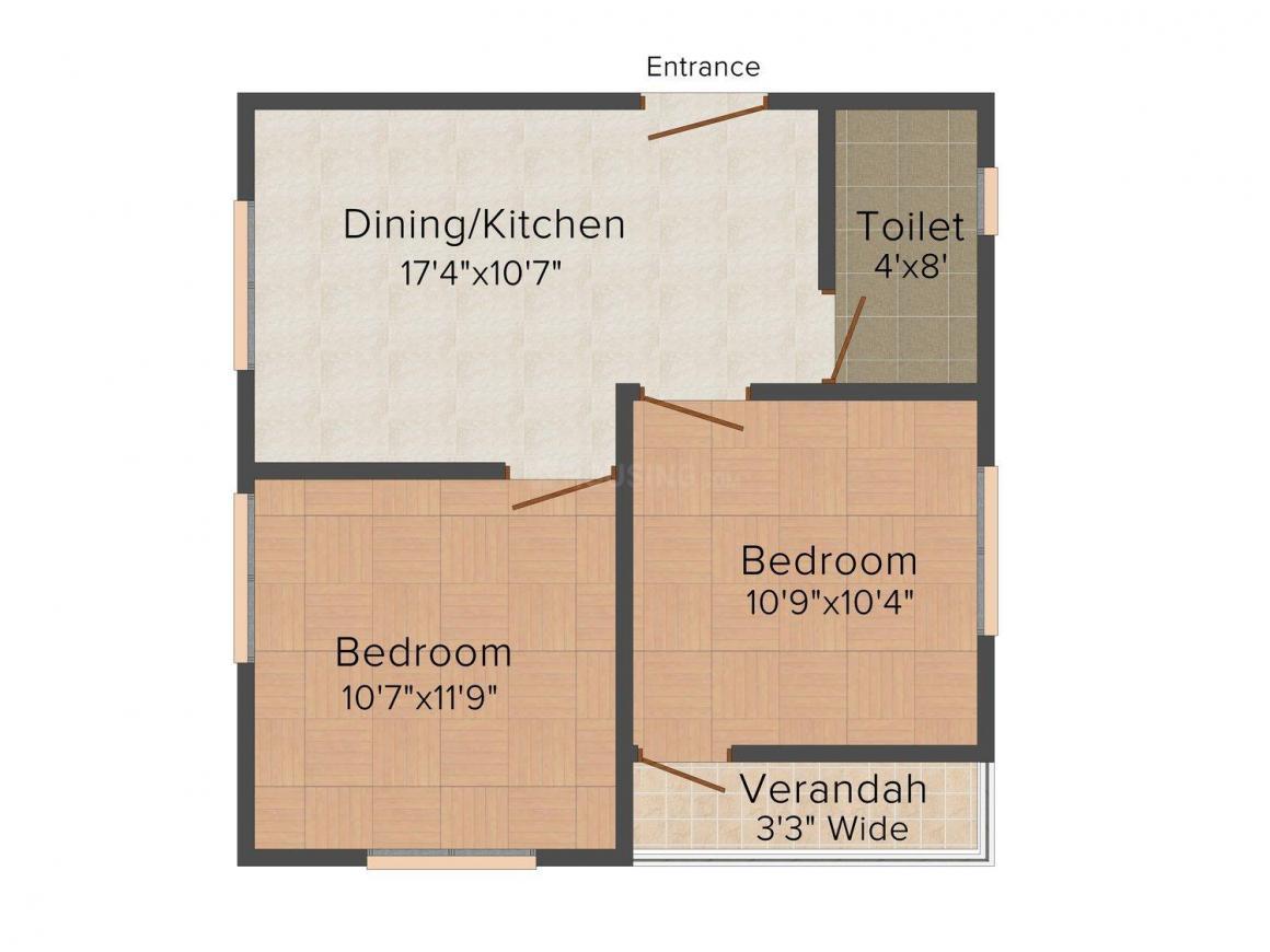 Swapneel Apartment Floor Plan: 2 BHK Unit with Built up area of 759 sq.ft 1