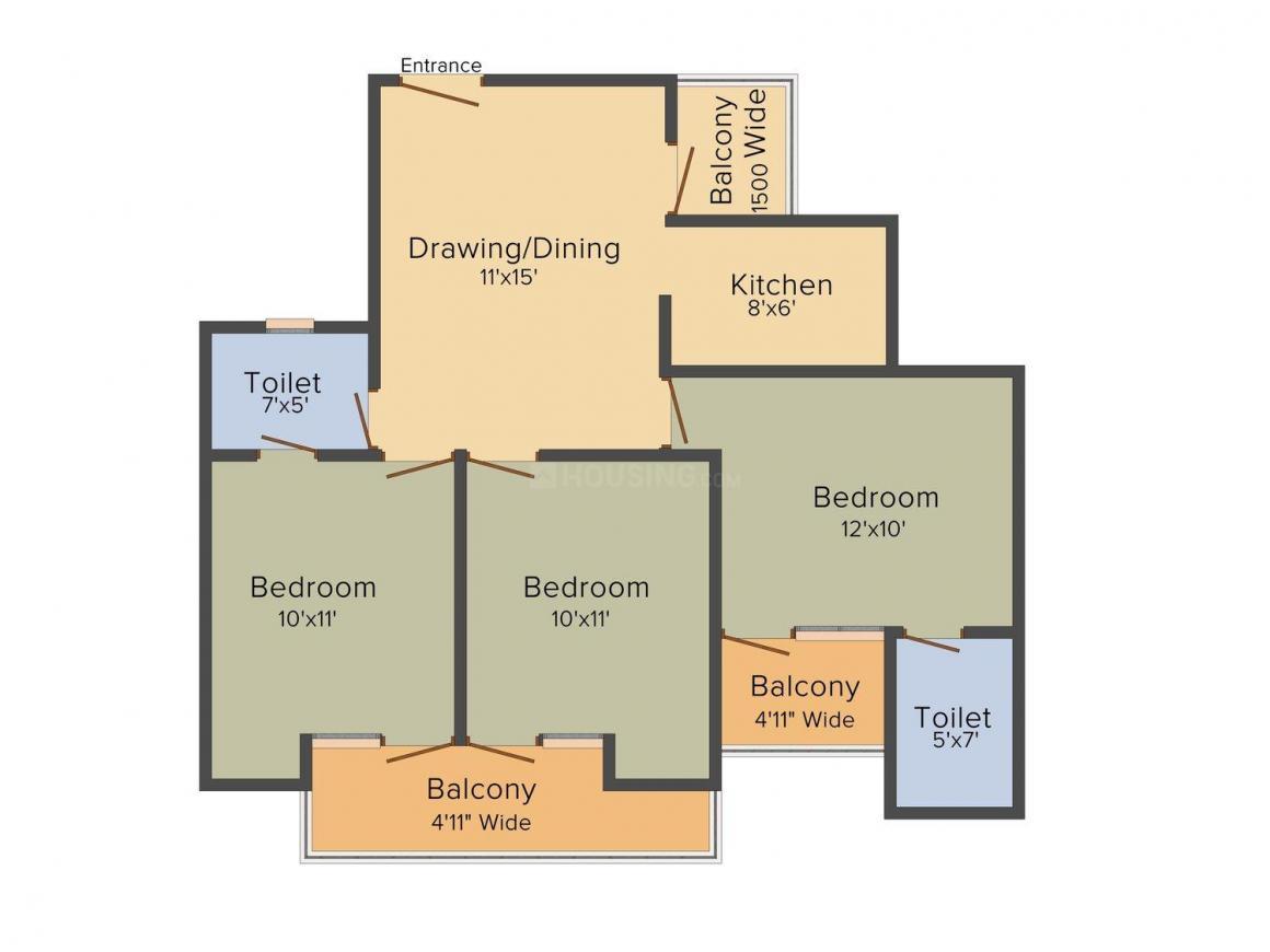 Floor Plan Image of 0 - 1275.0 Sq.ft 3 BHK Apartment for buy in Sarvottam Grand