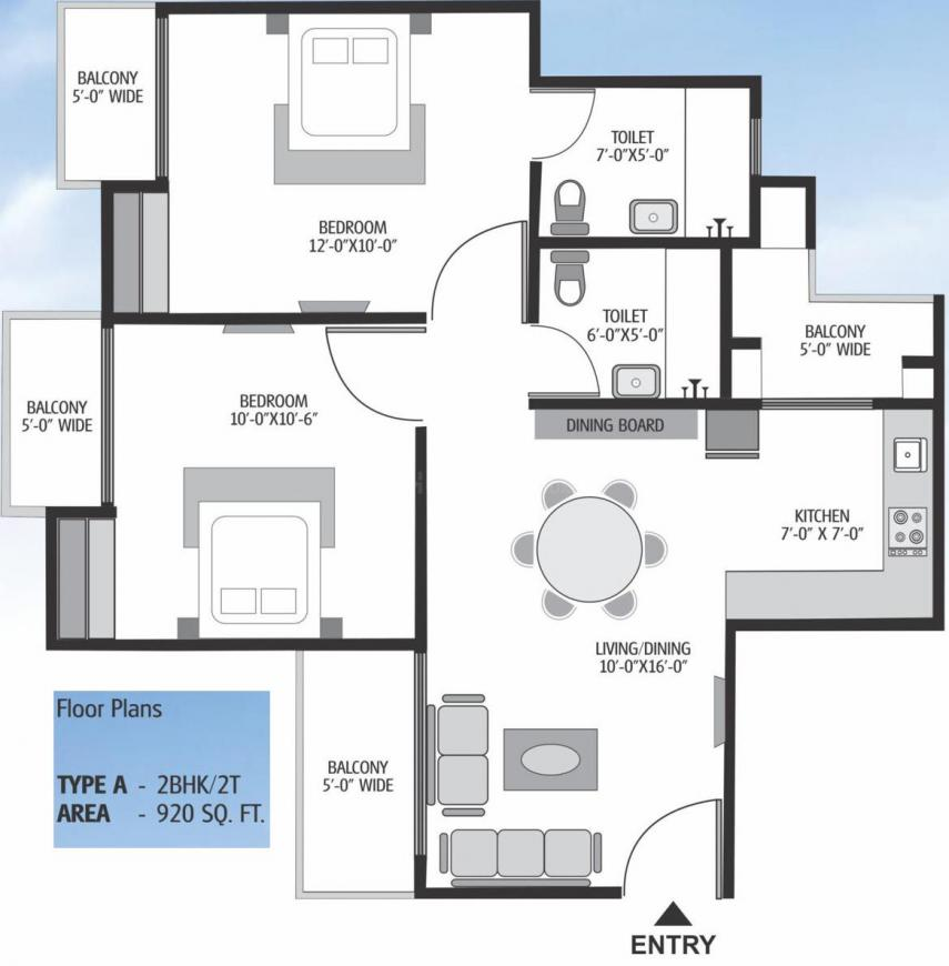 Exotica Dreamville Floor Plan: 2 BHK Unit with Built up area of 920 sq.ft 1